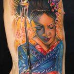 фото тату гейша №834 - крутой вариант рисунка, который удачно можно использовать для преобразования и нанесения как тату гейша и самурай