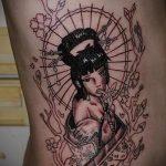 фото тату гейша №727 - достойный вариант рисунка, который легко можно использовать для доработки и нанесения как тату гейша япония