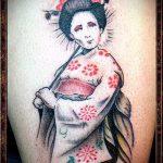 фото тату гейша №336 - достойный вариант рисунка, который успешно можно использовать для переработки и нанесения как тату гейша с зонтиком