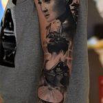 фото тату гейша №304 - интересный вариант рисунка, который легко можно использовать для преобразования и нанесения как тату гейша для девушек