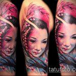 фото тату гейша №934 - классный вариант рисунка, который хорошо можно использовать для доработки и нанесения как тату гейша с зонтиком