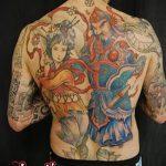 фото тату гейша №457 - эксклюзивный вариант рисунка, который легко можно использовать для доработки и нанесения как тату гейша с сакурой
