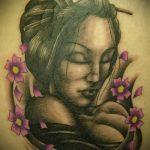фото тату гейша №289 - крутой вариант рисунка, который успешно можно использовать для доработки и нанесения как тату гейша на всю спину