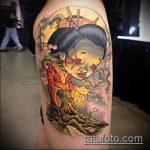 фото тату гейша №991 - эксклюзивный вариант рисунка, который хорошо можно использовать для переделки и нанесения как гейша с мечом тату