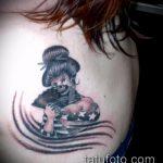 фото тату гейша №237 - уникальный вариант рисунка, который успешно можно использовать для переделки и нанесения как тату гейша на животе