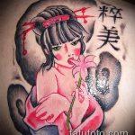фото тату гейша №531 - интересный вариант рисунка, который легко можно использовать для доработки и нанесения как гейша с мечом тату