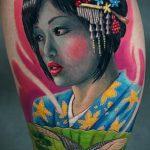 фото тату гейша №970 - интересный вариант рисунка, который удачно можно использовать для доработки и нанесения как тату гейша на дереве