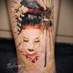фото тату гейша №243 - интересный вариант рисунка, который удачно можно использовать для переработки и нанесения как тату гейша на руке