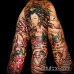 фото тату гейша №729 - прикольный вариант рисунка, который удачно можно использовать для преобразования и нанесения как тату гейша на всю спину