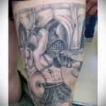 фото тату гладиатор №447 - достойный вариант рисунка, который удачно можно использовать для переработки и нанесения как тату гладиатор с крыльями