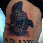 фото тату гладиатор №622 - достойный вариант рисунка, который легко можно использовать для доработки и нанесения как тату шлем гладиатора