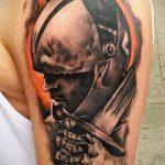 фото тату гладиатор №760 - классный вариант рисунка, который хорошо можно использовать для доработки и нанесения как тату гладиатор на животе