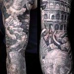фото тату гладиатор №788 - достойный вариант рисунка, который успешно можно использовать для переработки и нанесения как тату гладиатор на ноге