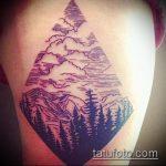 фото тату горы №64 - интересный вариант рисунка, который удачно можно использовать для переделки и нанесения как тату горы и медведь