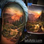 фото тату горы №665 - прикольный вариант рисунка, который легко можно использовать для переделки и нанесения как тату горы на плече