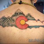 фото тату горы №448 - прикольный вариант рисунка, который успешно можно использовать для преобразования и нанесения как тату геометрические горы