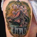 фото тату горы №153 - интересный вариант рисунка, который удачно можно использовать для доработки и нанесения как тату гора египет