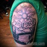 фото тату горы №423 - интересный вариант рисунка, который легко можно использовать для переработки и нанесения как тату горы минимализм