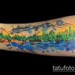 фото тату горы №166 - эксклюзивный вариант рисунка, который хорошо можно использовать для переработки и нанесения как тату горы и лес