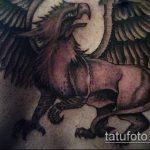 фото тату грифон №533 - крутой вариант рисунка, который легко можно использовать для переделки и нанесения как тату грифон на ноге