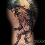 фото тату грифон №859 - прикольный вариант рисунка, который успешно можно использовать для преобразования и нанесения как тату грифон голова