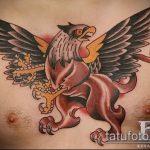фото тату грифон №422 - крутой вариант рисунка, который хорошо можно использовать для переработки и нанесения как тату грифон на икре
