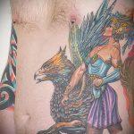 фото тату грифон №161 - эксклюзивный вариант рисунка, который удачно можно использовать для переделки и нанесения как тату грифон птица