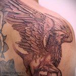 фото тату грифон №307 - крутой вариант рисунка, который легко можно использовать для преобразования и нанесения как тату грифон на руке