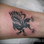 фото тату грифон №968 - крутой вариант рисунка, который успешно можно использовать для преобразования и нанесения как тату грифон голова