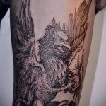 фото тату грифон №735 - интересный вариант рисунка, который успешно можно использовать для переработки и нанесения как тату грифон на ноге