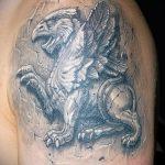 фото тату грифон №367 - крутой вариант рисунка, который успешно можно использовать для переработки и нанесения как тату грифон на плече