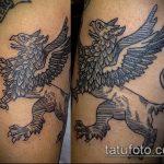 фото тату грифон №604 - уникальный вариант рисунка, который легко можно использовать для переделки и нанесения как тату грифон на всю спину