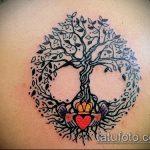 фото тату дерево №466 - классный вариант рисунка, который удачно можно использовать для переделки и нанесения как тату на икре дерево