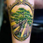 фото тату дерево №245 - крутой вариант рисунка, который успешно можно использовать для преобразования и нанесения как тату в виде дерева на шее