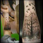 фото тату дерево №681 - интересный вариант рисунка, который легко можно использовать для переделки и нанесения как тату ветка дерева