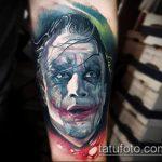 фото тату джокер №413 - классный вариант рисунка, который хорошо можно использовать для переделки и нанесения как тату джокера из фильма отряд самоубийц