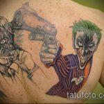 фото тату джокер №826 - классный вариант рисунка, который успешно можно использовать для переделки и нанесения как тату джокер на икре