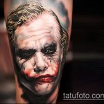 фото тату джокер №1 - интересный вариант рисунка, который удачно можно использовать для преобразования и нанесения как тату джокера из фильма отряд самоубийц