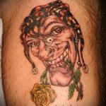 фото тату джокер №263 - интересный вариант рисунка, который успешно можно использовать для переделки и нанесения как тату джокер в шляпе