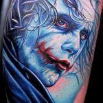 фото тату джокер №738 - крутой вариант рисунка, который хорошо можно использовать для доработки и нанесения как тату джокер на руке