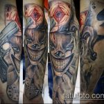 фото тату джокер №789 - эксклюзивный вариант рисунка, который хорошо можно использовать для доработки и нанесения как тату джокер кисть