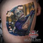 фото тату джокер №390 - прикольный вариант рисунка, который хорошо можно использовать для доработки и нанесения как тату джокер на икре