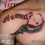 фото тату джокер №411 - уникальный вариант рисунка, который хорошо можно использовать для переработки и нанесения как тату джокер злой