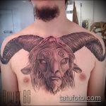 фото тату козел №87 - прикольный вариант рисунка, который легко можно использовать для доработки и нанесения как тату козел олдскул