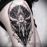 фото тату козел №40 - прикольный вариант рисунка, который успешно можно использовать для преобразования и нанесения как тату череп козла
