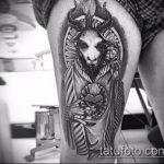 фото тату козел №310 - эксклюзивный вариант рисунка, который хорошо можно использовать для переделки и нанесения как тату козел и ножи атомы