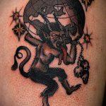 фото тату козел №575 - прикольный вариант рисунка, который легко можно использовать для доработки и нанесения как тату череп козла