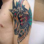 фото тату козел №320 - интересный вариант рисунка, который хорошо можно использовать для доработки и нанесения как тату козел на запястье