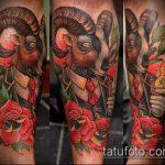 фото тату козел №444 - классный вариант рисунка, который хорошо можно использовать для переработки и нанесения как тату череп козла