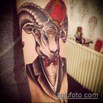 фото тату козел №588 - крутой вариант рисунка, который легко можно использовать для преобразования и нанесения как тату череп козла